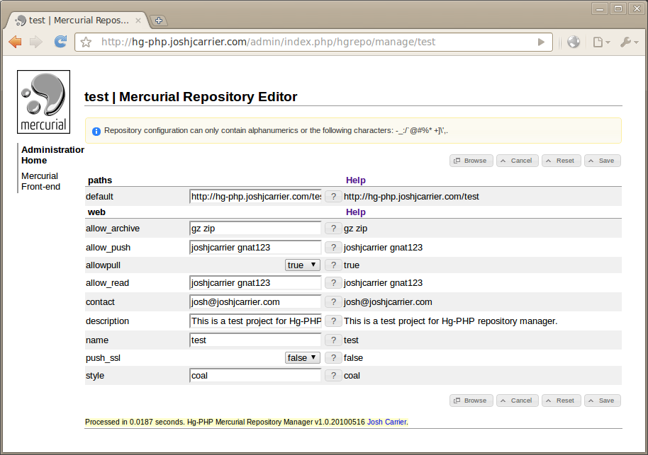 Mecurial in a browser